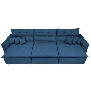 Sofá Cairo 3,52m Retrátil, Reclinável Tecido Suede Azul