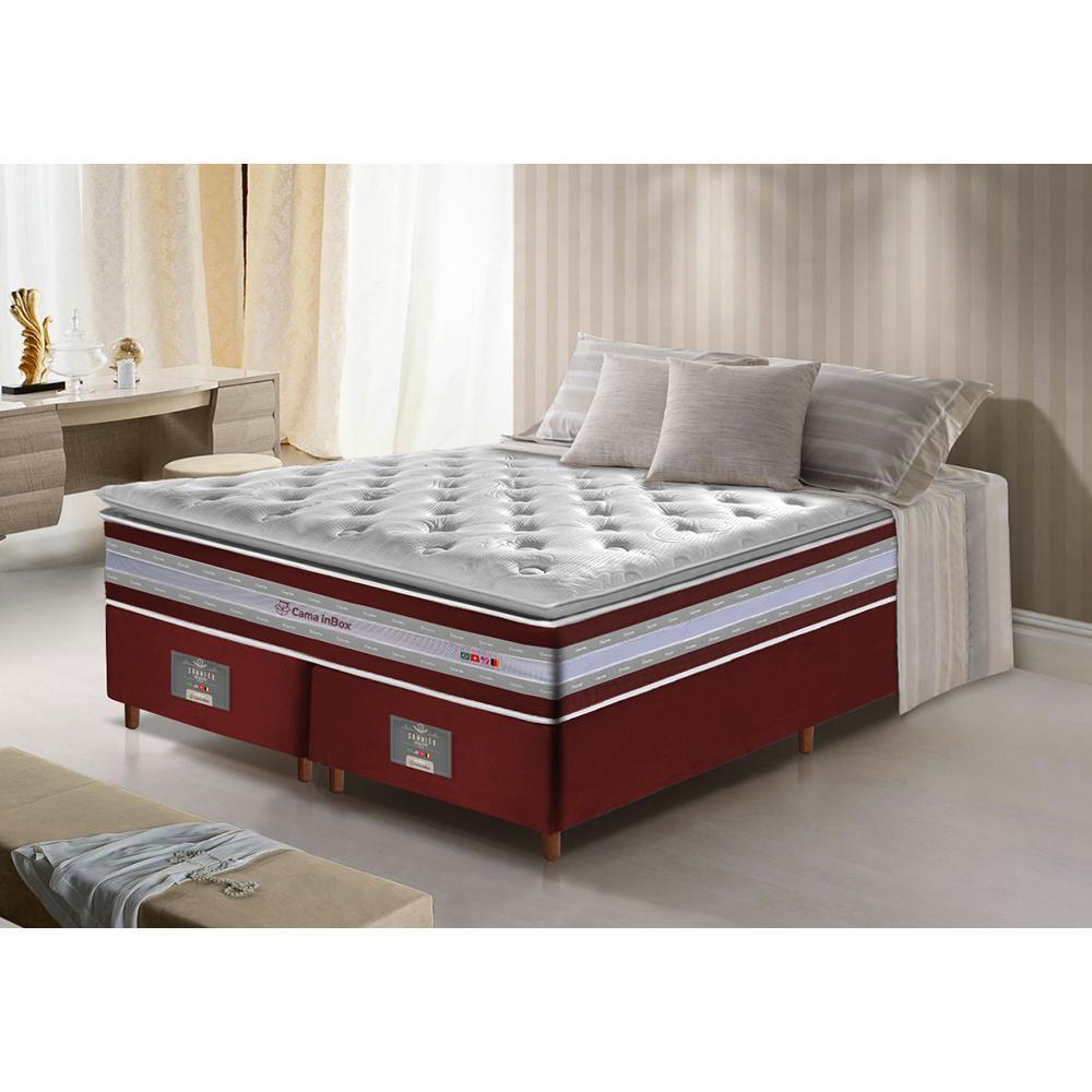 Conjunto Cama Box King de Molas Ensacadas D33 com Pillow TOP Cama inBox Select 193x203x71 Vinho