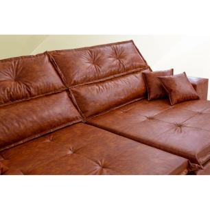 Sofá Tourino 2,02m Retrátil Reclinável, Molas e Pillow no Assento Tecido Courino Caramelo Cama InBox
