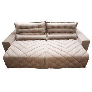 Sofá 2,62m Retrátil e Reclinável com Molas Cama inBox Plus Tecido Suede Velusoft Bege