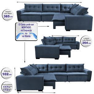 Sofa de Canto Retrátil e Reclinável com Molas Cama inBox Oklahoma 3,85X2,61 ou 2,61X3,85 Azul