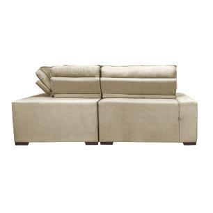 Sofa de Canto Retrátil e Reclinável com Molas Cama inBox Austin 2,30m x 2,30m Suede Velusoft Bege