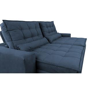 Sofá Retrátil e Reclinável com Molas Ensacadas Cama inBox Gold 2,52m Tecido Suede Velusoft Azul