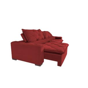 Sofá Magnum 2,02m Retrátil, Reclinável, Molas no Assento e Almofadas Lombar Suede Vermelho Cama InBox