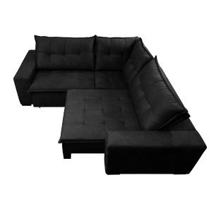 Sofá de Canto Retrátil, Reclinável, Molas Cama inBox Oklahoma 2,60m x 2,60m Suede Velusoft Preto