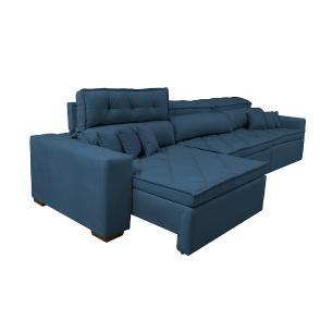 Sofá Retrátil e Reclinável 4,12m Austin com Molas no Assento Tecido Suede Velusoft Azul