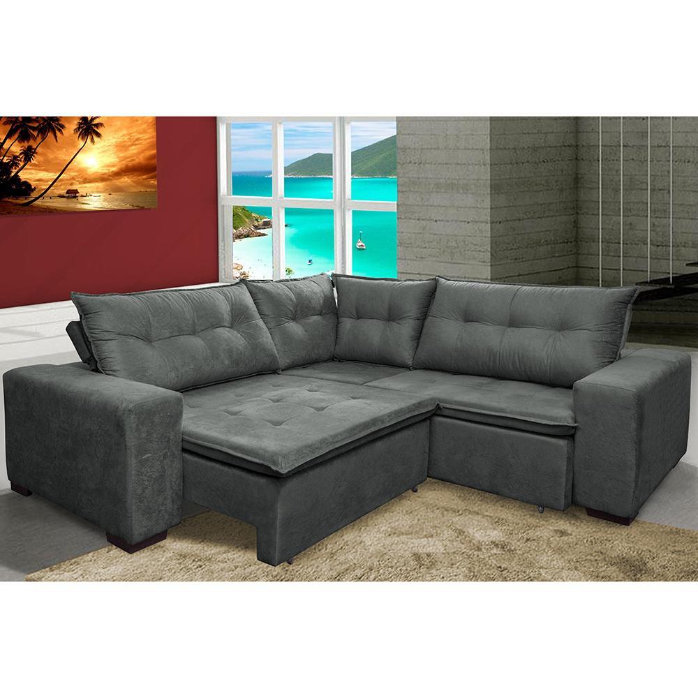 Sofa de Canto Retrátil e Reclinável com Molas Cama inBox Oklahoma 2,70m x 2,70m Suede Velusoft Cinza
