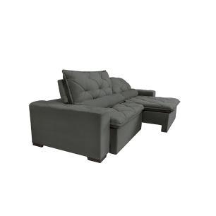 Sofá Magnum 2,22m Retrátil, Reclinável com Molas no Assento e Almofadas Lombar Tecido Suede Velusoft Grafite - Cama InBox