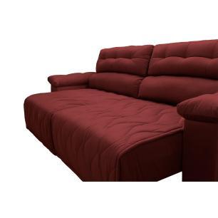Sofá 2,62m Retrátil e Reclinável com Molas Cama inBox Top Tecido Suede Velusoft Vermelho
