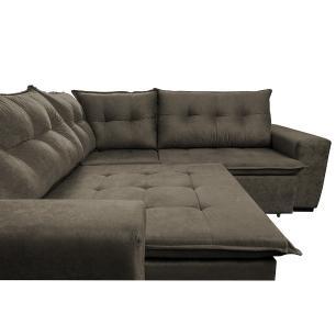 Sofa de Canto Retrátil e Reclinável com Molas Cama inBox Oklahoma 2,50m x 2,50m Suede Velusoft Café