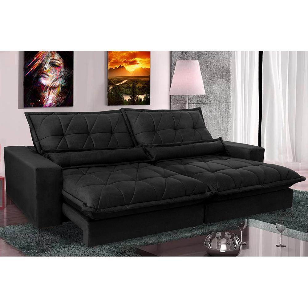 Sofa Retrátil e Reclinável 2,92m com Molas Ensacadas Cama inBox Soft Tecido Suede Preto