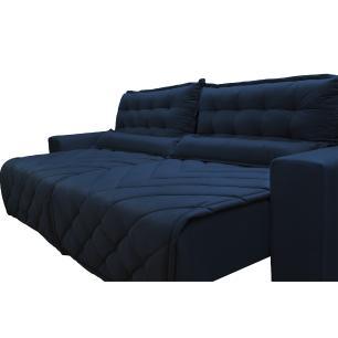 Sofá 2,72m Retrátil e Reclinável com Molas Cama inBox Plus Tecido Suede Velusoft Azul