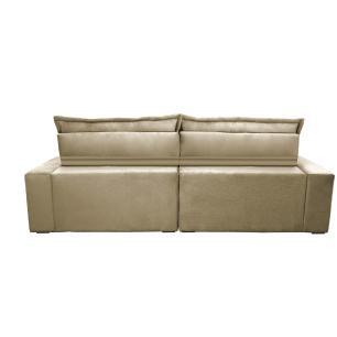 Sofa Retrátil e Reclinável 2,32m com Molas Ensacadas Cama inBox Soft Tecido Suede Bege