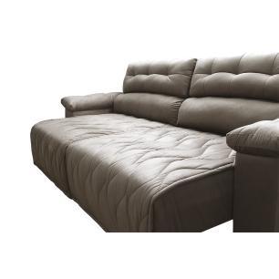 Sofá 2,02m Retrátil e Reclinável com Molas Cama inBox Top Tecido Suede Velusoft Castor