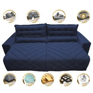 Sofá 2,42m Retrátil e Reclinável com Molas Cama inBox Plus Tecido Suede Velusoft Azul