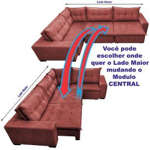 Sofa de Canto Retrátil e Reclinável com Molas Cama inBox Oklahoma 3,65X2,51 ou 2,51X3,65 Vermelho