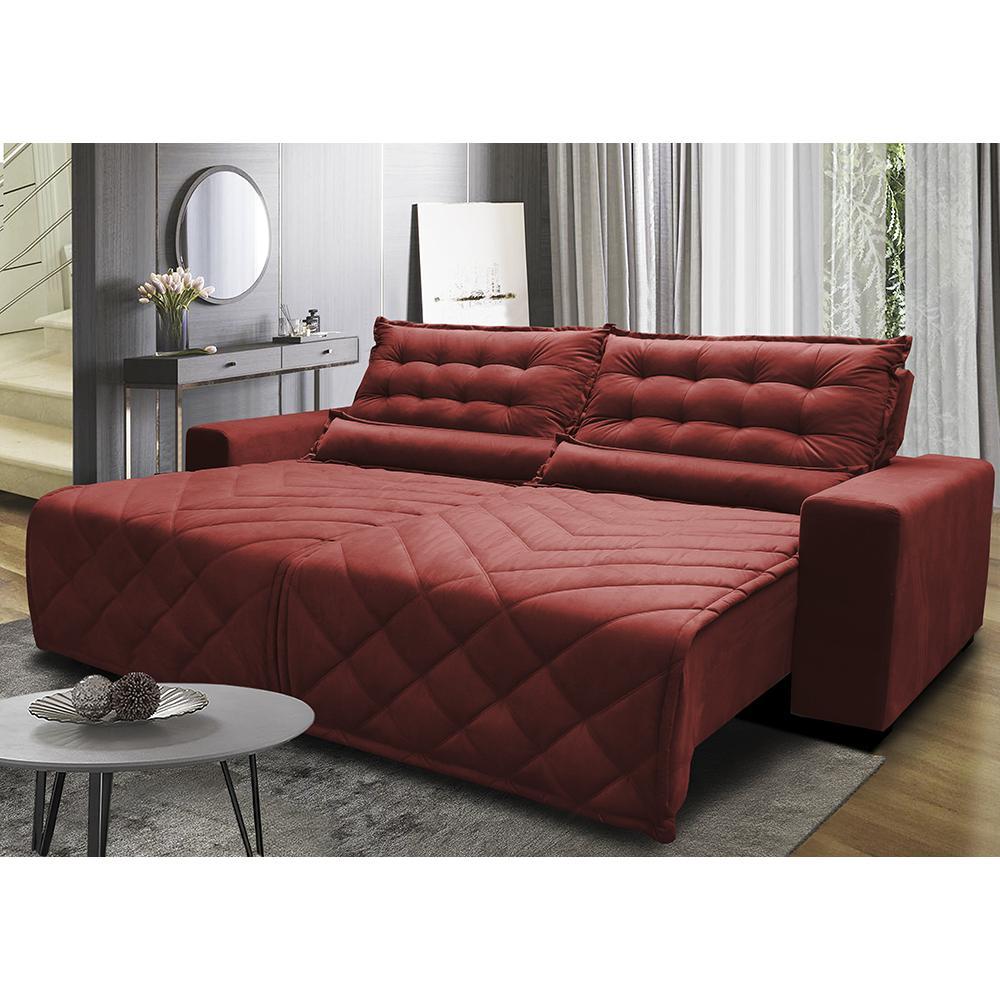 Sofá 2,22m Retrátil e Reclinável com Molas Cama inBox Plus Tecido Suede Velusoft Vermelho