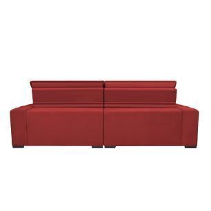 Sofá Magnum 2,62m Retrátil, Reclinável, Molas no Assento e Almofadas Lombar Suede Vermelho Cama InBox