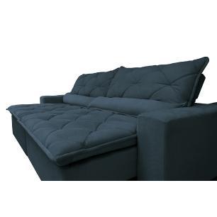Sofá Lisboa 2,32m Retrátil, Reclinável com Molas no Assento Tecido Suede Velusoft Azul - Cama InBox