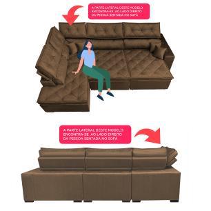 Sofa de Canto Retrátil e Reclinável com Molas Cama inBox Platinum Esquerdo 3,40x2,36 Suede Café