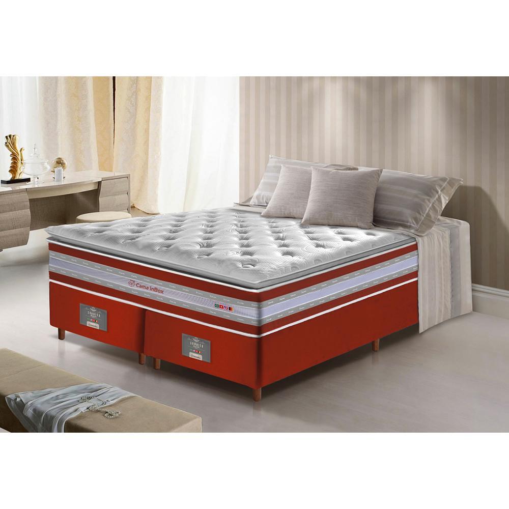 Conjunto Cama Box Queen de Molas Ensacadas D33 com Pillow TOP Cama inBox Select 158x198x71 Vermelho