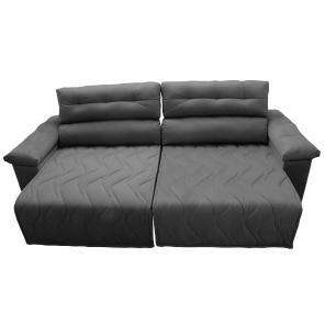 Sofá 2,42m Retrátil e Reclinável com Molas Cama inBox Top Tecido Suede Velusoft Cinza