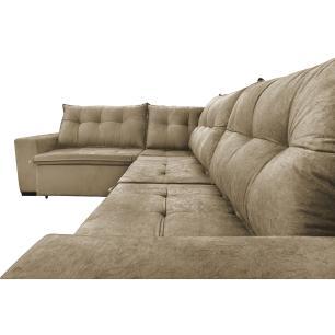 Sofa de Canto Retrátil e Reclinável com Molas Cama inBox Oklahoma 3,65X2,51 ou 2,51X3,65 Castor