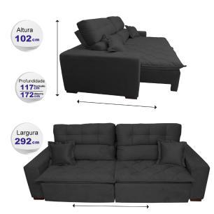 Sofá 2,92m Retrátil e Reclinável com Molas Cama inBox Confort Tecido Suede Velusoft Preto