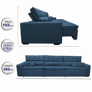 Sofá Retrátil e Reclinável 3,82m Austin com Molas no Assento Tecido Suede Velusoft Azul