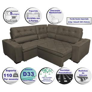 Sofa de Canto Retrátil e Reclinável com Molas Cama inBox Austin 2,50m x 2,50m Suede Velusoft Café