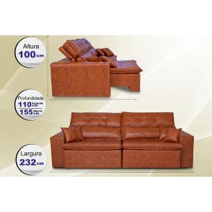 Sofá Tourino 2,32m Retrátil Reclinável, Molas e Pillow no Assento Tecido Courino Caramelo Cama InBox