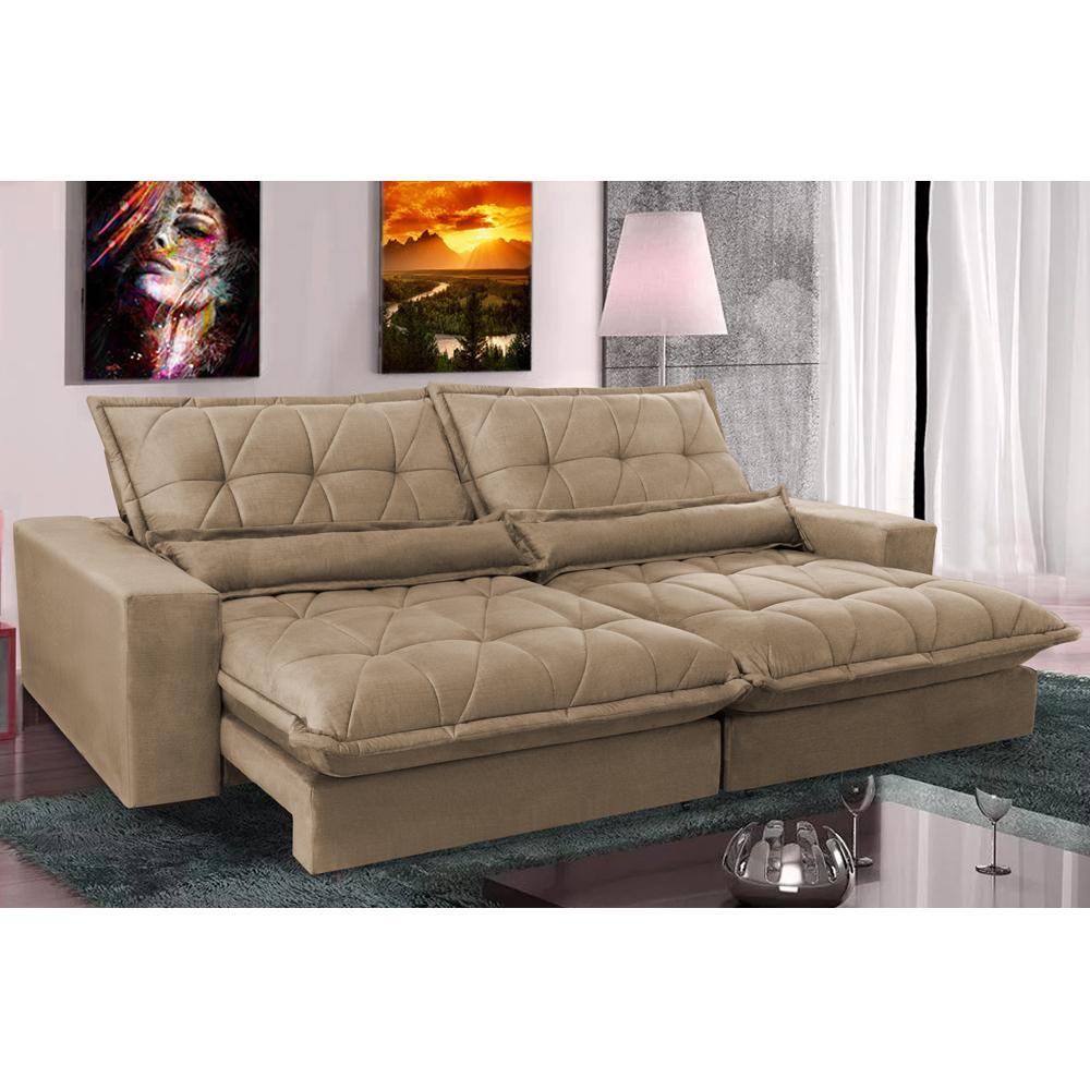 Sofa Retrátil e Reclinável 3,12m com Molas Ensacadas Cama inBox Soft Tecido Suede Castor