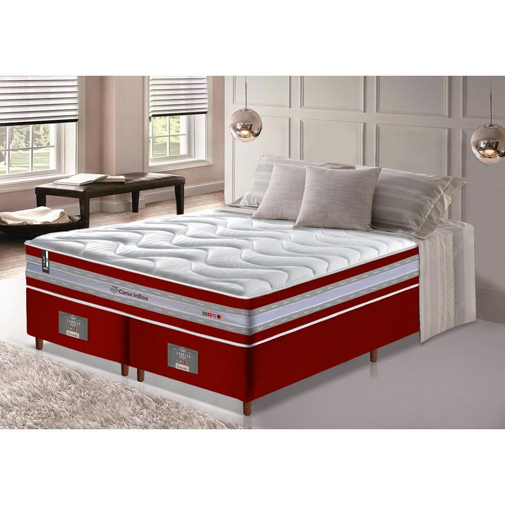 Conjunto Cama Box King de Molas Ensacadas D33 Cama inBox Select Firme 193x203x71 Vermelho