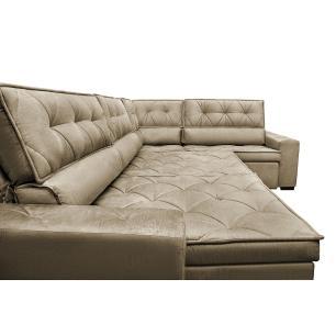 Sofa de Canto Retrátil e Reclinável com Molas Cama inBox Austin 3,45X2,44 ou 2,44X3,45 Suede Velusoft Castor