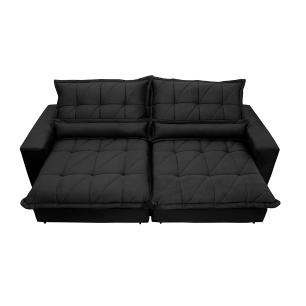 Sofa Retrátil e Reclinável 2,72m com Molas Ensacadas Cama inBox Soft Tecido Suede Preto