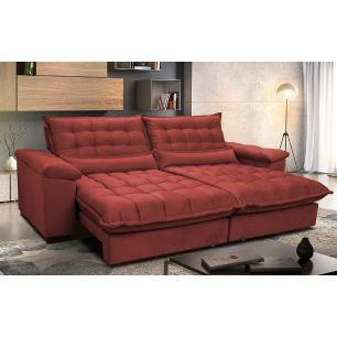 Sofá Retrátil e Reclinável 2,72m com Molas Ensacadas Cama inBox Aconchego Tecido Suede Vermelho