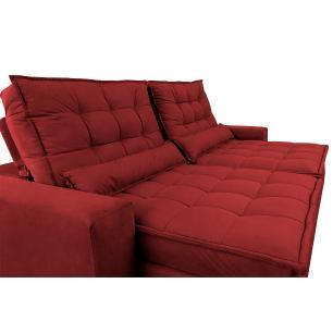 Sofá Retrátil e Reclinável com Molas Ensacadas Cama inBox Gold 2,52m Tecido Suede Velusoft Vermelho