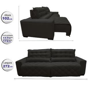 Sofá 2,72m Retrátil e Reclinável com Molas Cama inBox Plus Tecido Suede Velusoft Café