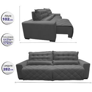 Sofá 2,82m Retrátil e Reclinável com Molas Cama inBox Plus Tecido Suede Velusoft Cinza