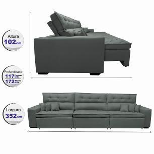 Sofá Retrátil e Reclinável 3,52m Austin com Molas no Assento Tecido Suede Velusoft Cinza
