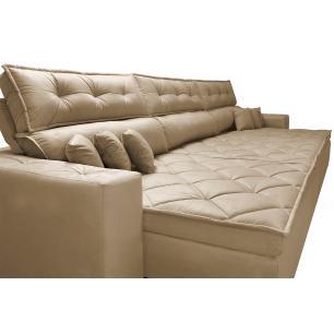 Sofá Retrátil e Reclinável 3,52m Austin com Molas no Assento Tecido Suede Velusoft Castor