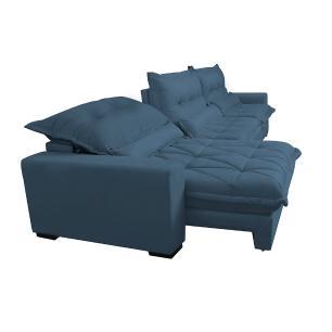 Sofá Retrátil e Reclinável 3,52m com Molas Ensacadas Cama Inbox Soft Tecido Suede Velusoft Azul