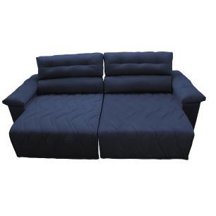 Sofá 2,62m Retrátil e Reclinável com Molas Cama inBox Top Tecido Suede Velusoft Azul