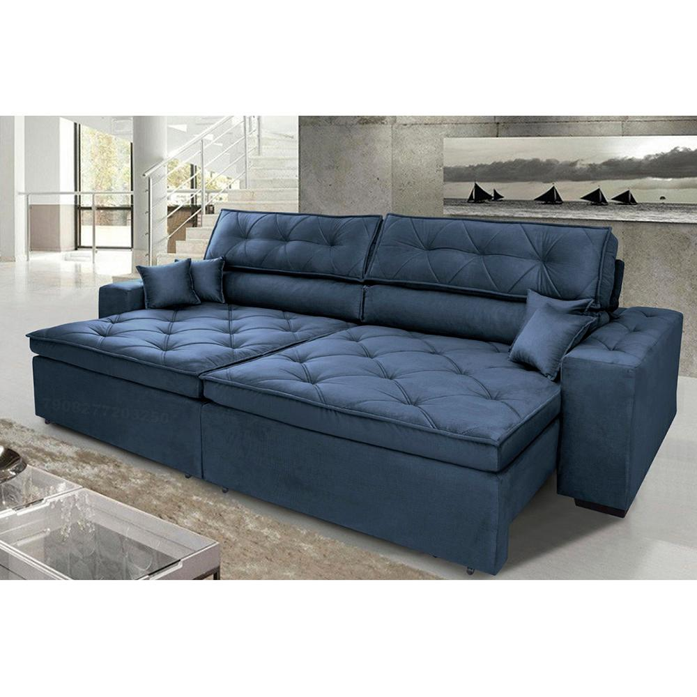 Sofá Austin 2,42m Retrátil, Reclinável com Molas no Assento e Almofadas, Tecido Suede Azul