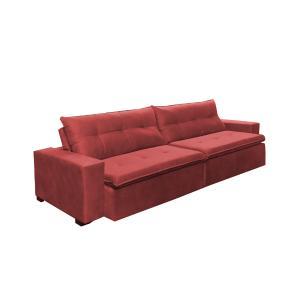 Sofá Retrátil e Reclinavel Oklahoma 2,52 Mts Com Molas e Pillow no Assento Tecido Suede Vermelho - Cama InBox