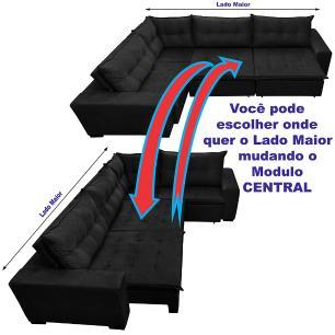 Sofá de Canto Retrátil, Reclinável, Molas Cama inBox Oklahoma 3,85X2,61 ou 2,61X3,85 Suede Preto