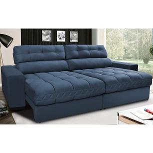 Sofá Retrátil e Reclinável com Molas Ensacadas Cama inBox Master 2,52m Tecido Suede Azul