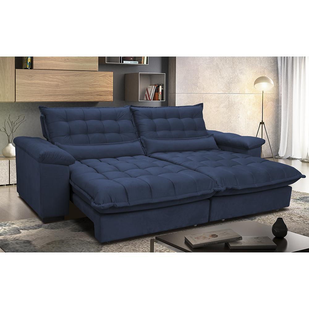 Sofá Retrátil e Reclinável 2,52m com Molas Ensacadas Cama inBox Aconchego Tecido Suede Azul