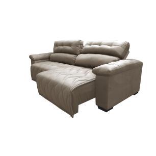 Sofá 2,32m Retrátil e Reclinável com Molas Cama inBox Top Tecido Suede Velusoft Castor