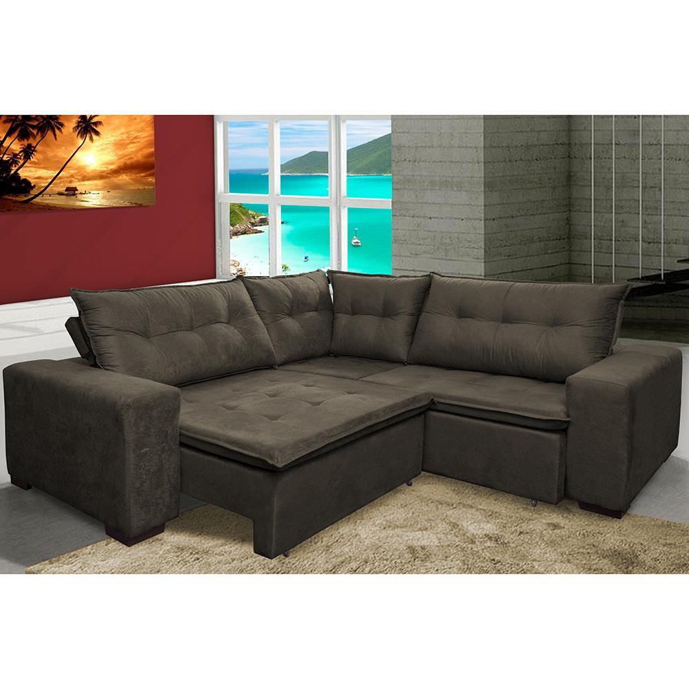 Sofa de Canto Retrátil e Reclinável com Molas Cama inBox Oklahoma 2,40m x 2,40m Suede Velusoft Café